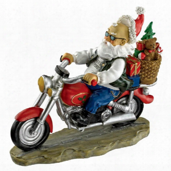 Old School Father Christmas Santa Biker Statue