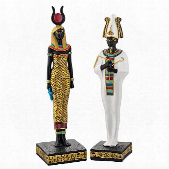 "Osiris And Hathor"" Deities Of Ancient Egypt Statues"
