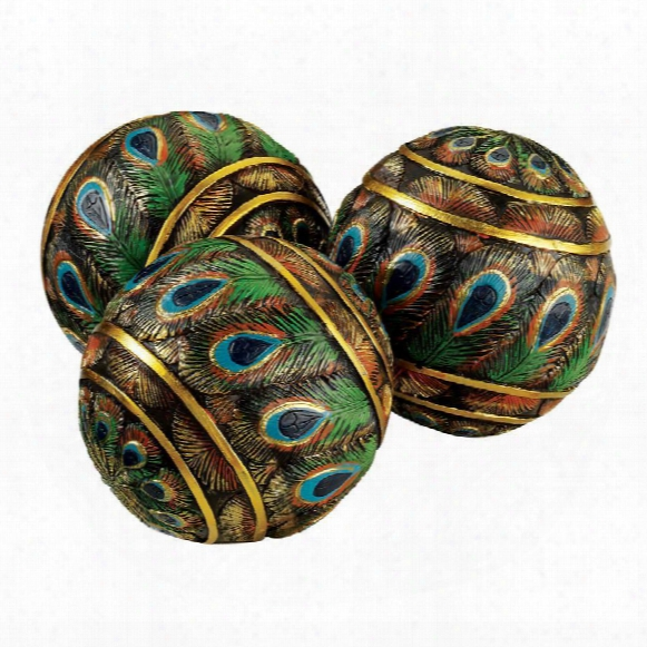 Peacock-feathered Orbs Decorative Accent Balls: Set Of Three