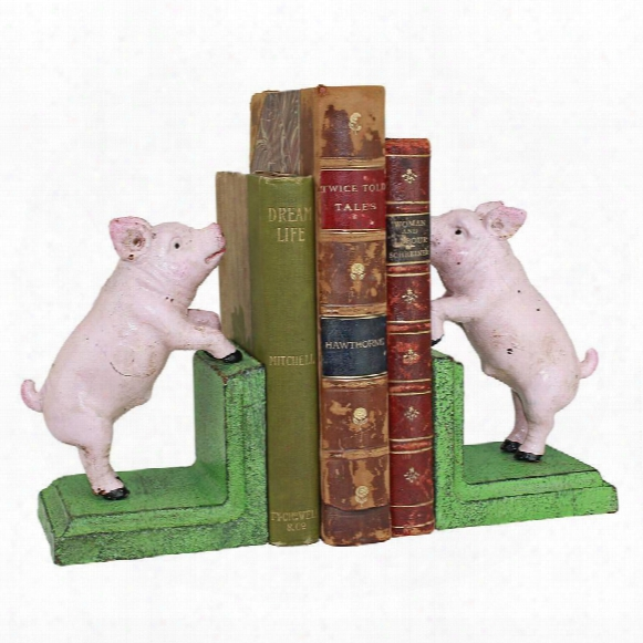 Piggy In A Pen Cast Iron Sculptural Bookend Pair
