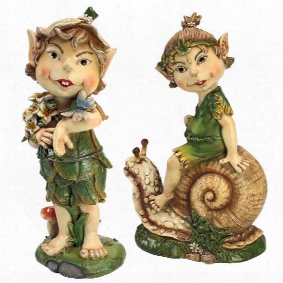 "Pixie Pete Elfin Gnome"" Garden Statues: Set Of Two"