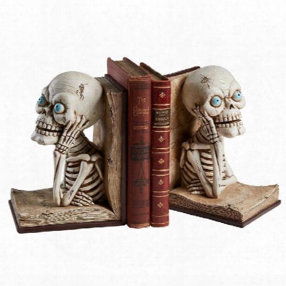 Pondering Literary Skeleton Sculptural Bookends