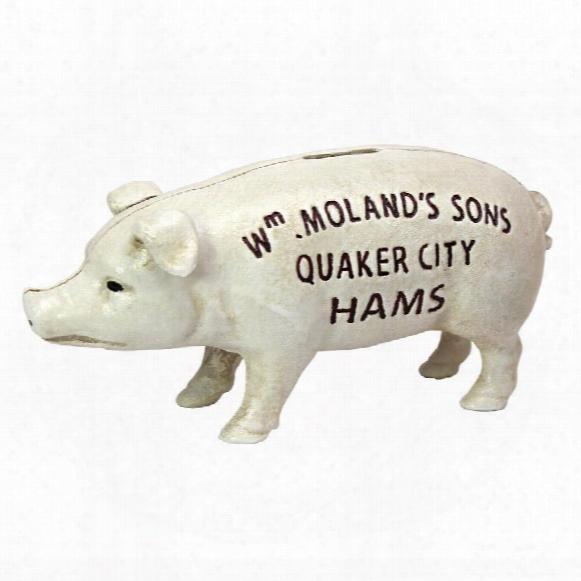 Quaker City Hams Pig Still Action Die-cast Iron Coin Bank