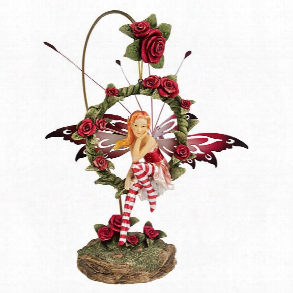 "Radiant Rose"" Dangling Fairy Scupture With Stand"