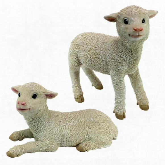 Ramses And Aries Lamb Statues: Set Of Two
