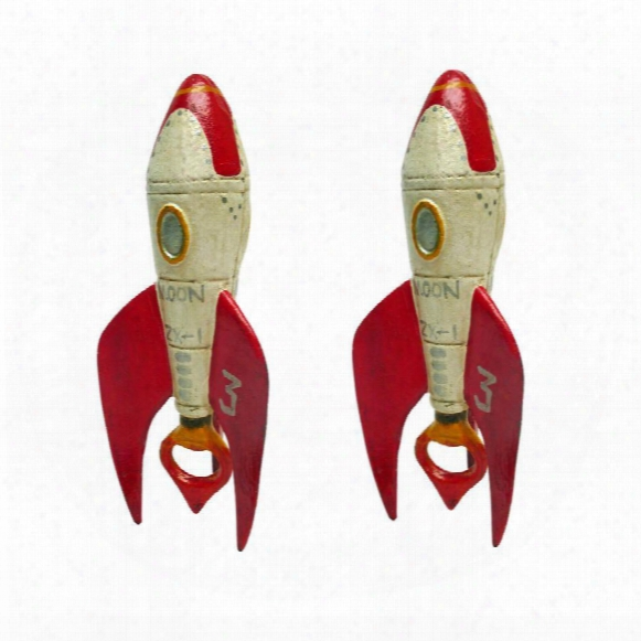 Retro Rocket Ship Cast Iron Bottle Opener: Set Of Two