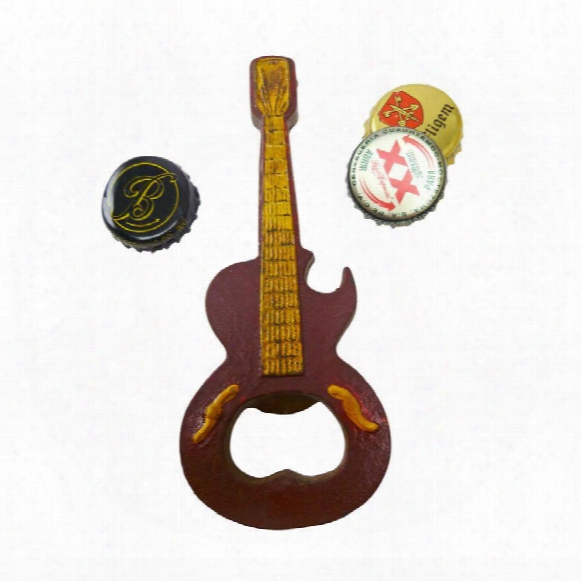 Rock And Roll Guitar Cast Ion Bottle Opener: Set Of Two
