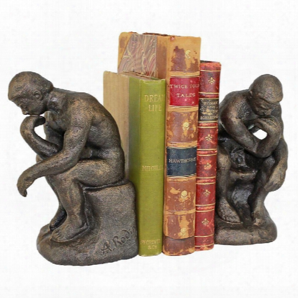 Rodin S Thinker Cast Iron Sculptural Bookend Pair
