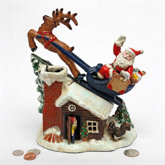 Santa's Christmas Sleigh Ride Die-cast Iron Mechanical Coin Bank