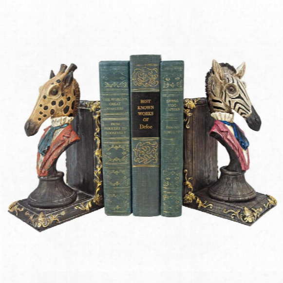 "Serengeti Soiree"" Giraffe And Zebra Bookends"