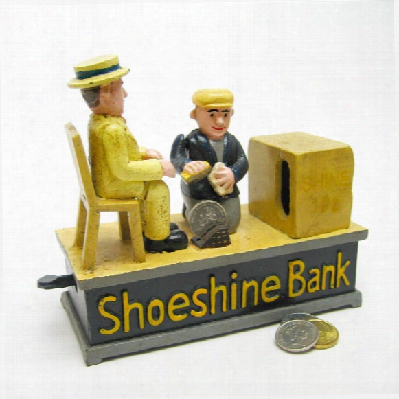 Shoe Shine Collectors' Die Cast Iron Mechanical Coin Bank
