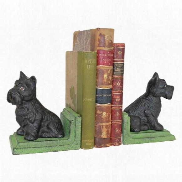 Sitting Scotty Dog Cast Iron Sculptural Bookend Pair