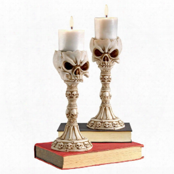 Skullduggery Skull And Sculptural Candlesticks: Set Of Two