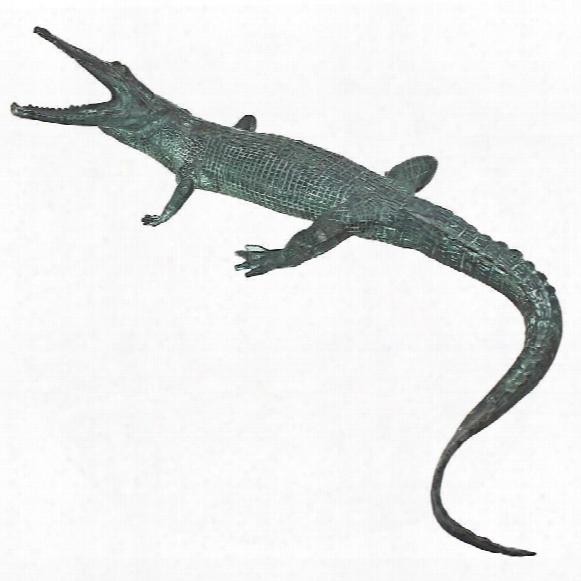 Snapping Gator Bronze Alligator Garden Statue