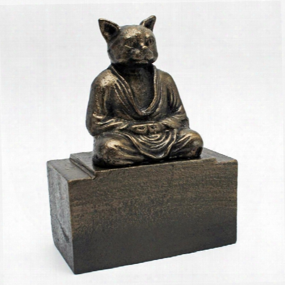Spirit Of Zen: Meditating Cat Cast Iron Bookend: Set Of Two