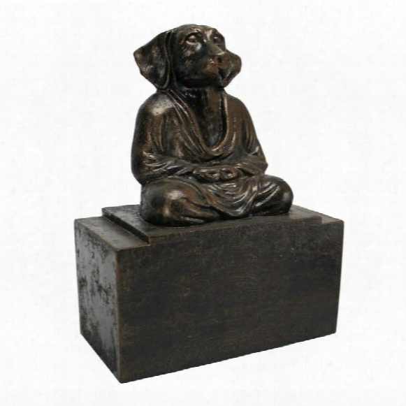 Spirit Of Zen: Meditating Dog Cast Iron Bookend: Set Of Two