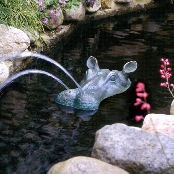 Spitting Hippo Head Solid Bronze Garden Statue