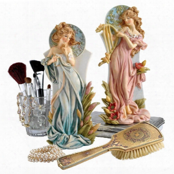 "Spring And Summer"" Art Nouveau Maiden Statues"