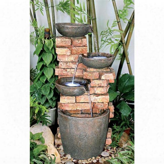 Stacked Bricks Cascading Garden Fountain