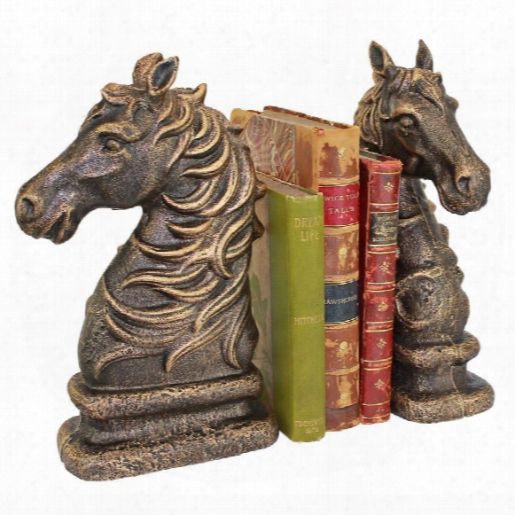Stallion Silhouette Horse Cast Iron Sculptural Bookend Pair