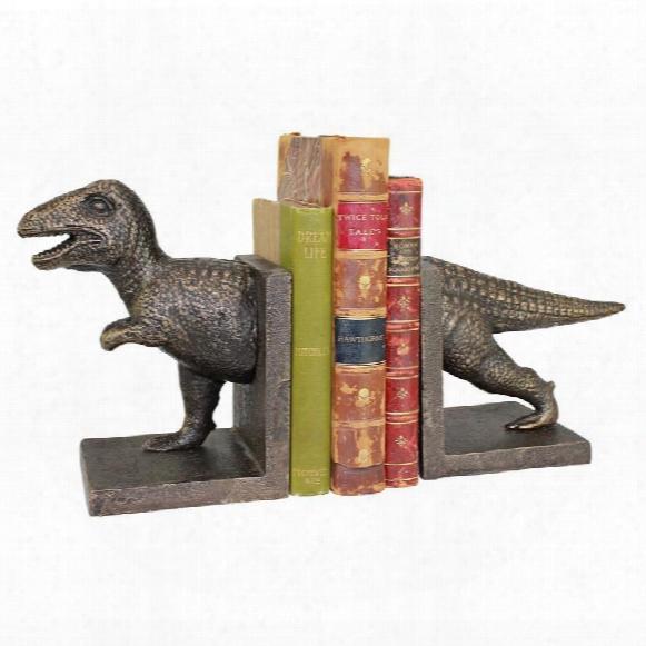 T-rex Dinosaur Cast Iron Sculptural Bookend Pair