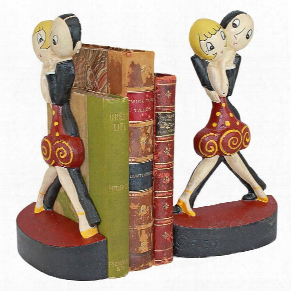 The Charleston Dancers Cast Iron Sculptural Bookend Pair