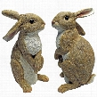 Hopper, the Bunny, Standing Garden Rabbit Statue: Set of Two