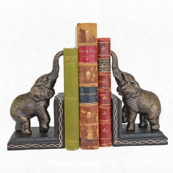Triumphant Elephant Cast Iron Sculptural Bookend Pair
