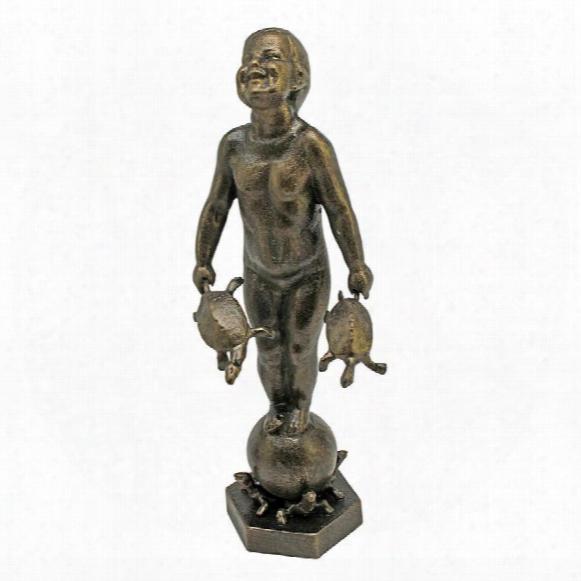 Turtle Boy Cast Iron Statue