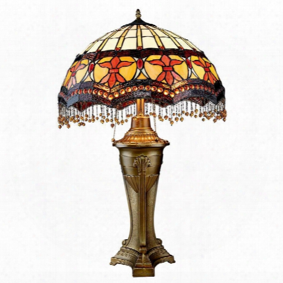 Victorian Parlor Tiffany-style Stained Glass Table Lamp