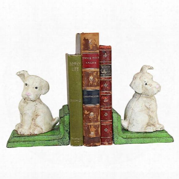 Wheaten Scottish Terrier Dogs Cast Iron Sculptural Bookend Pair