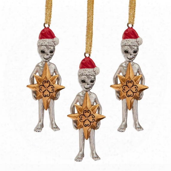 Wiseman Star Christmas Alien Holiday Ornament: Set Of Three