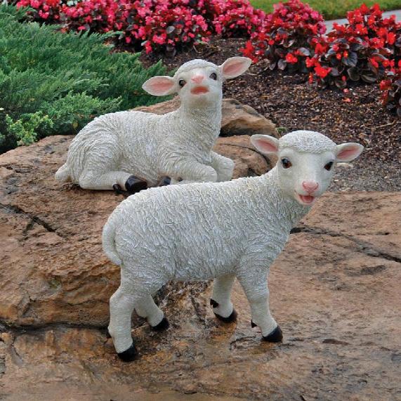 Yorkshire Lamb Garden Statues: Sitting Lamb & Standing Lamb
