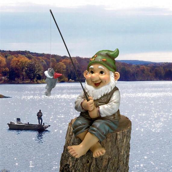Ziggy, The Fishing Gnome Garden Sitter Statue