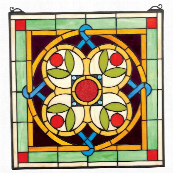 Celtic Floral Quatrefoil Stained Glass Window
