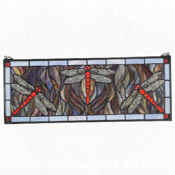 Colbalt Blue Dragonfly Tiffany-style Stained Glass Window