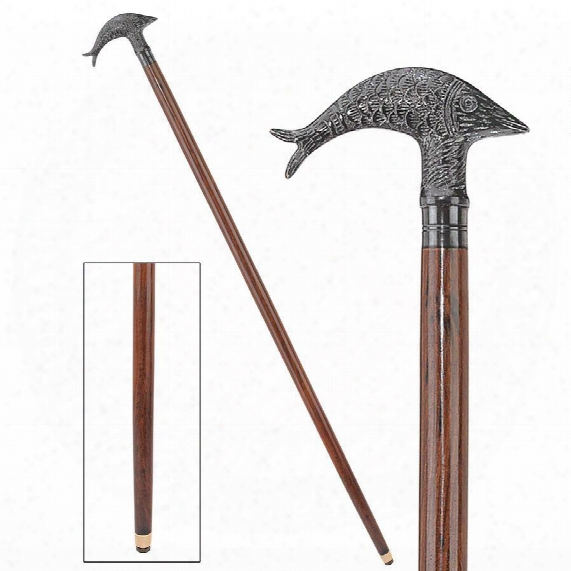 Dolphin Derby Handled Solid Hardwood Walking Stick
