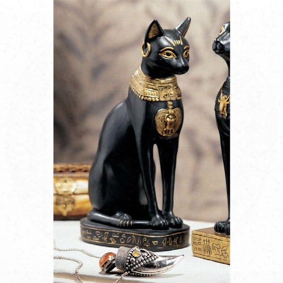 Egyptian Cat Goddess Bastet Statue: Bastet With Earrings