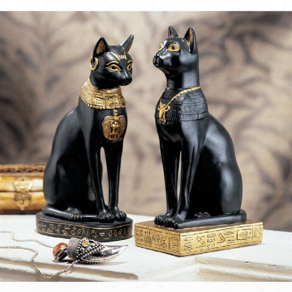 Egyptian Cat Goddess Bastet Statues: Set Of Two