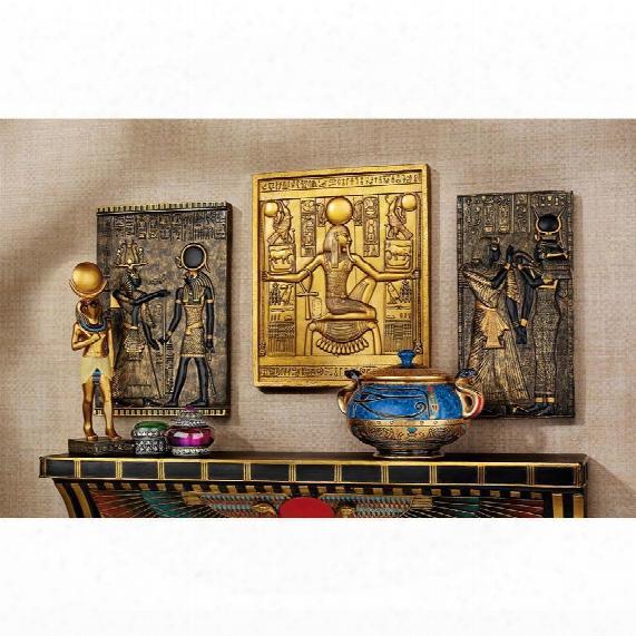 Egyptian Temple Stele Plaque: Tutankhamen, Isis, Horus