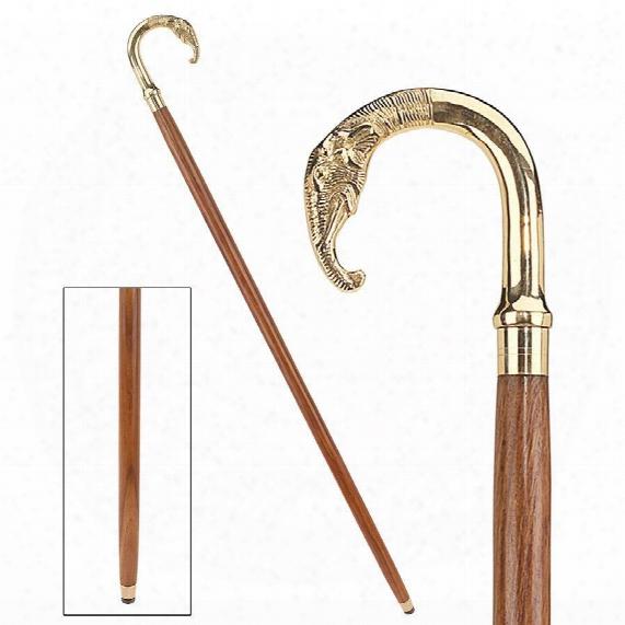Elephant Curved Handle Solid Hardwood Walking Stick