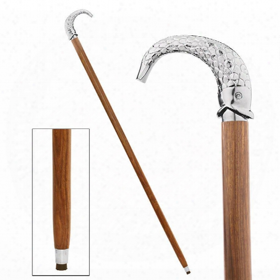 Empress Collection: Hook, Line, And Sinker Fish Chrome Solid Hardwood Walking Stick