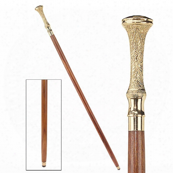 Empress Collection: Kingsley Brass Solid Hardwood Walking Stick