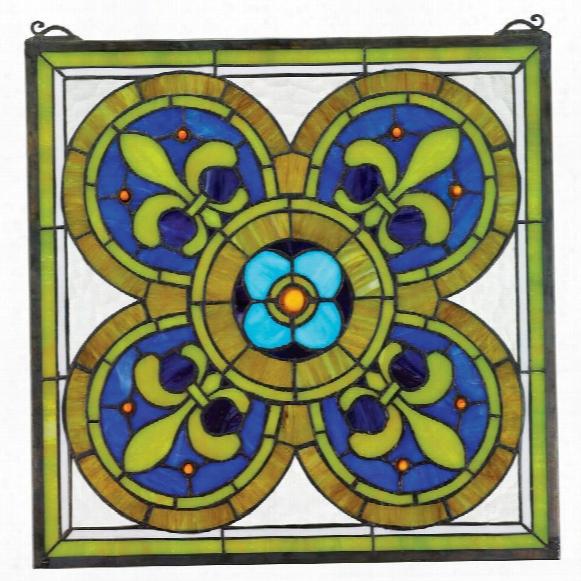 Fleur De Lis Quatrefoil Stained Glass Window