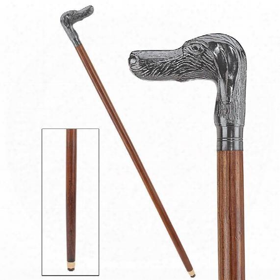 Hunting Dog Solid Hardwood Walking Stick