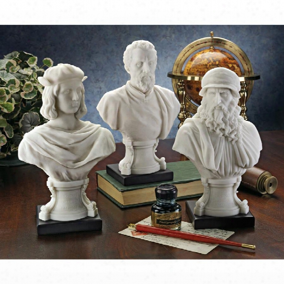 "Italian Renaissance Masters"" Bonded Marble Resin Statues"