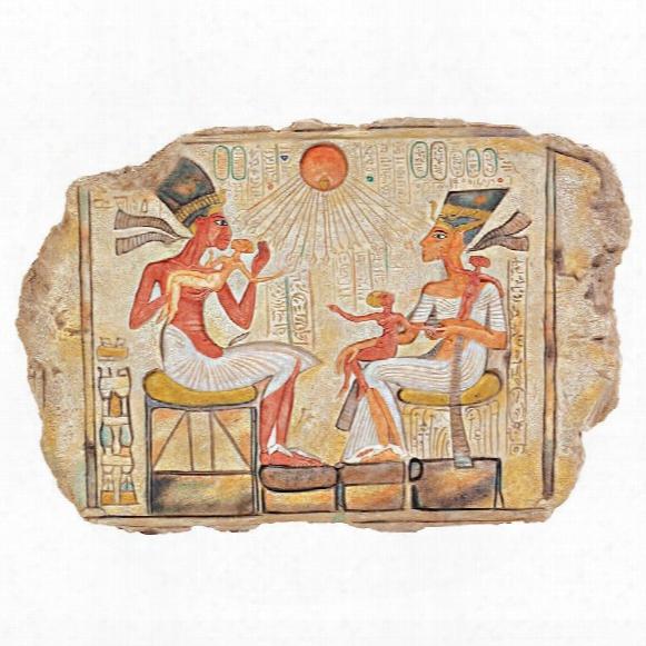 King Akhenaton, Nefertiti And Daughters Stele Wall Sculpture