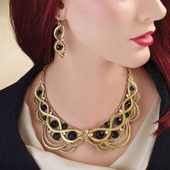 Lady Ginger Necklace And Earrings Ensemble