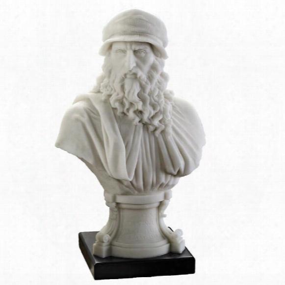 "Leonardo Da Vinci Renaissance Master"" Bonded Marble Resin Statue"