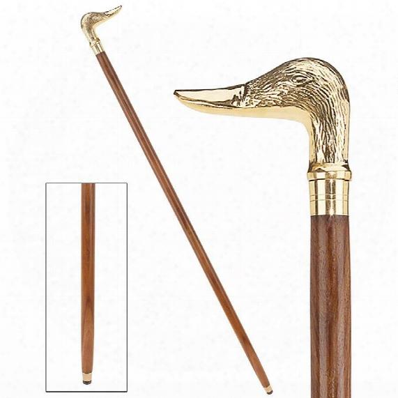 Mallard Duck Solid Hardwood Walking Stick